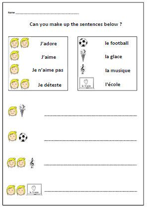 FRENCH Worksheet about LIKES  & DISLIKESPrimary by YippeeLearning