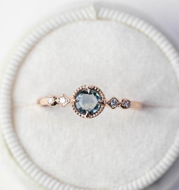 Beautiful Unique Genuine Unheated Green Sapphire Engagement Ring In 100 Green Sapphire Engagement Ring Engagement Rings Sapphire Alternative Engagement Rings