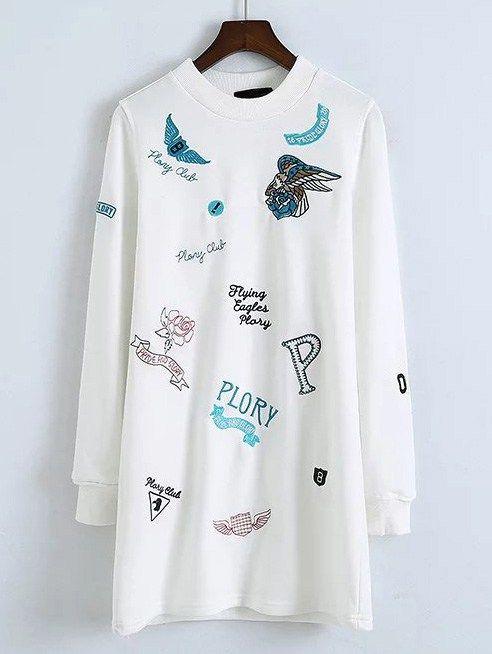 White Cartoon Embroidered Sweatshirt Dress