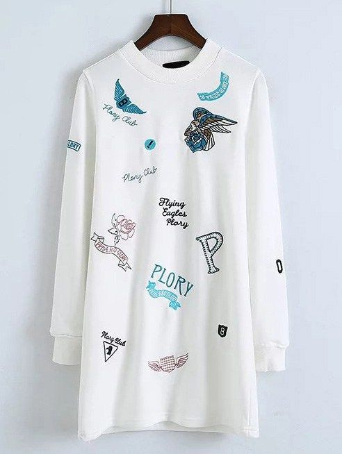 White Cartoon Embroidered Sweatshirt Dress