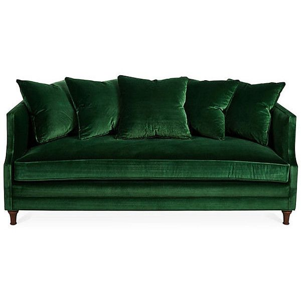 "Dumont 85"" Velvet Sofa Emerald Sofas & Loveseats ($2,199) ❤ liked on Polyvore featuring home, furniture, sofas, emerald green couch, velvet couch, emerald green sofa, velvet love seat and emerald green furniture"