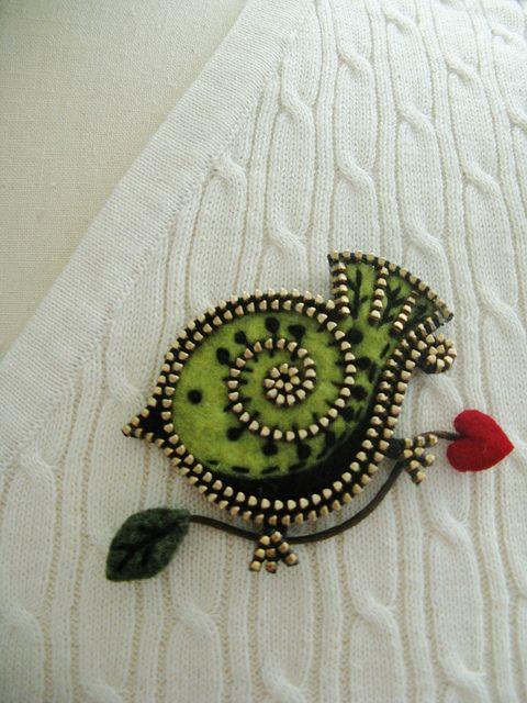 Little green bird... by woolly  fabulous, via Flickr