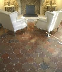 hexagon tiles in a kitchen floor