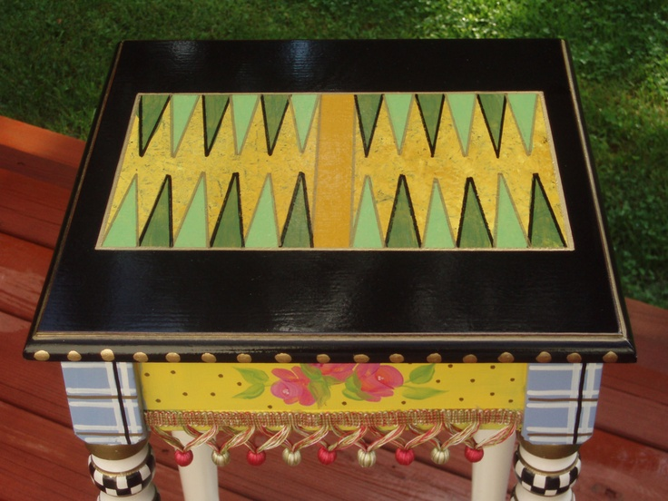Hand Painted Game Table Backgammom By Paintingbymichele On Etsy