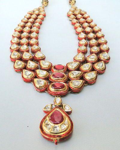 Vintage Antique 20K Gold Diamond Polki Kundan Enamel MEENAKARI Work Necklace   eBay