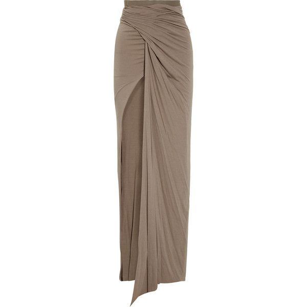 Rick Owens Lilies Draped stretch-jersey maxi skirt found on Polyvore