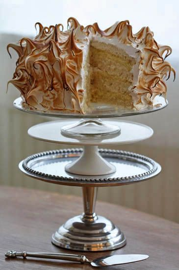 Coconut Cream Cake with Toasted Meringue Frosting- Pretty