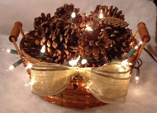 How to make lighted pine cone baskets things to make for Things to make with fir cones