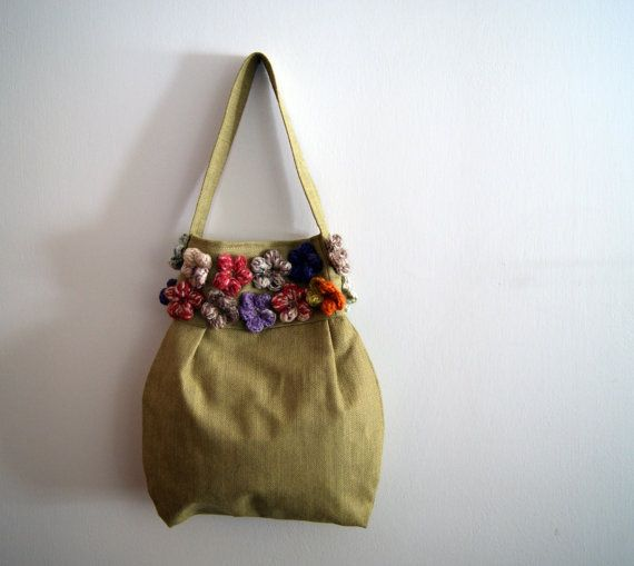 Green with flowers purse bag by knittingcate on Etsy, $55.00