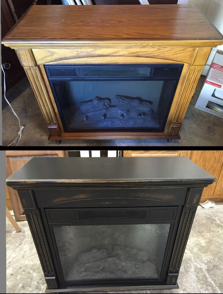 Golden Oak Electric Fireplace Refinished In Black Distressed. - 17 Best Ideas About Electric Fireplaces On Pinterest Electric