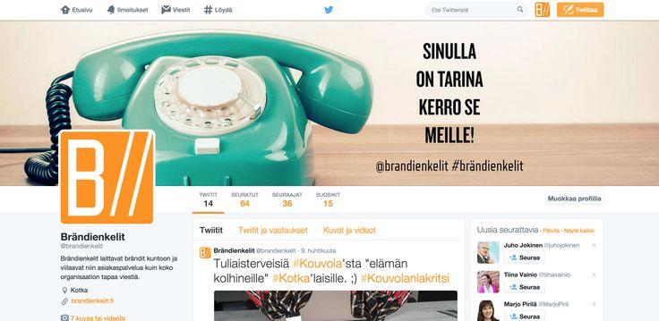 Brändienkelit, Twitter-tilin seinä. Somekanavien käyttöönotto oman ammattitaidon ylläpitämiseksi. Natasha Varis, 2015. – http://www.brandienkelit.fi/