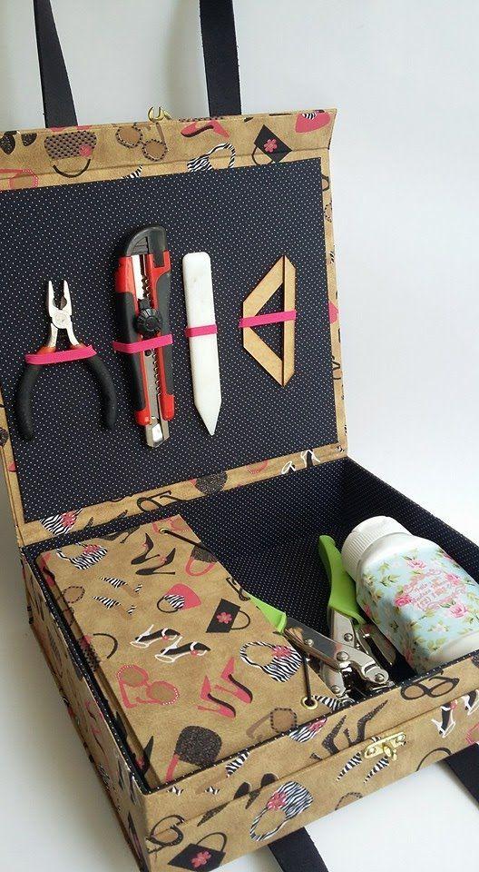 Aprenda fazer uma maleta para ferramentas de cartonagem