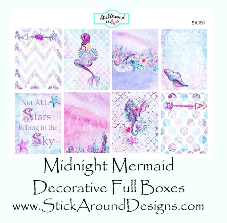 Decorative Full Box Planner Stickers from the Midnight Mermaid Collection at www.StickAroundDesigns.com. These are printed on matte sticker paper. Free shipping within the U.S.