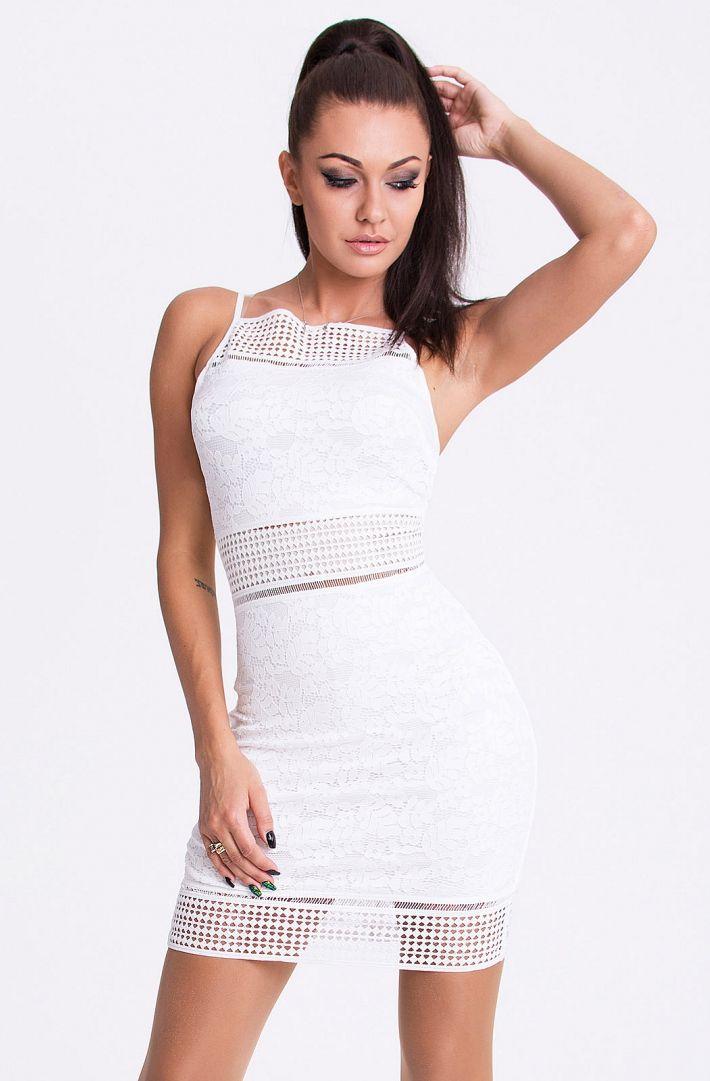 Koronkowa obcisła sukienka mini na ramiączkach biała fashion4u.pl