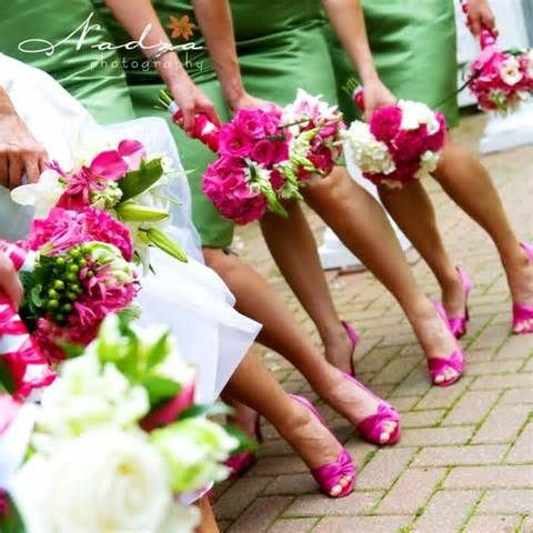 pink and green wedding ideas - Bing Images This is the green I want. I love the shoe color and flowers if we went with green dresses.