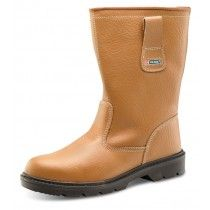 Click Steel Toe Cap Leather Rigger Boots Tan