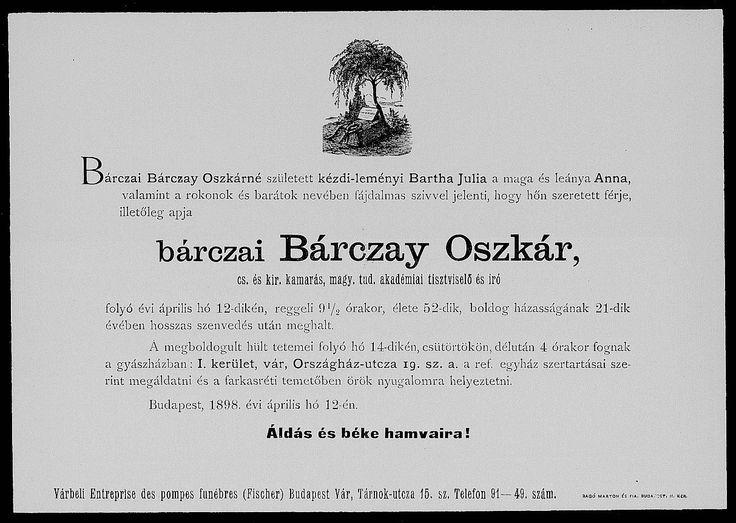 bárczai Bárczay Oszkár  (1846 - Budapest, 1898. április 12.)    Az egyik legjelentősebb magyar heraldikus. A Tudományos Akadémia főtitkári segédje, császári és királyi kamarás. Élénk részt vett a tudományos társulatok működésében és választmányi tagja volt a történelmi, valamint a heraldikai és a genealógiai társulatnak. Heraldikai és genealógiai témában írott cikkei a Turulban és az Archeologiai Értesítőben jelentetett meg. Legjelentősebb műve Aheraldika kézikönyve, melyet máig nem múltak…