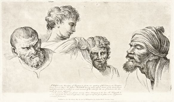 Four Heads from the Cartoons at Hampton Court originally by William Hogarth, the plate restored by James Heath and published by Baldwin, Cradock & Joy, Paternoster Row, London, c.1822.