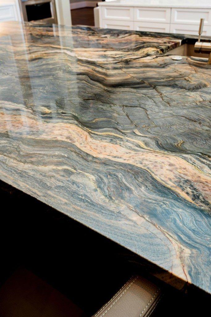 Blue Fusion Quartzite Kitchen Island Aria Stone Gallery Quartzite Kitchen Island Kitchen Countertops Stone Countertops