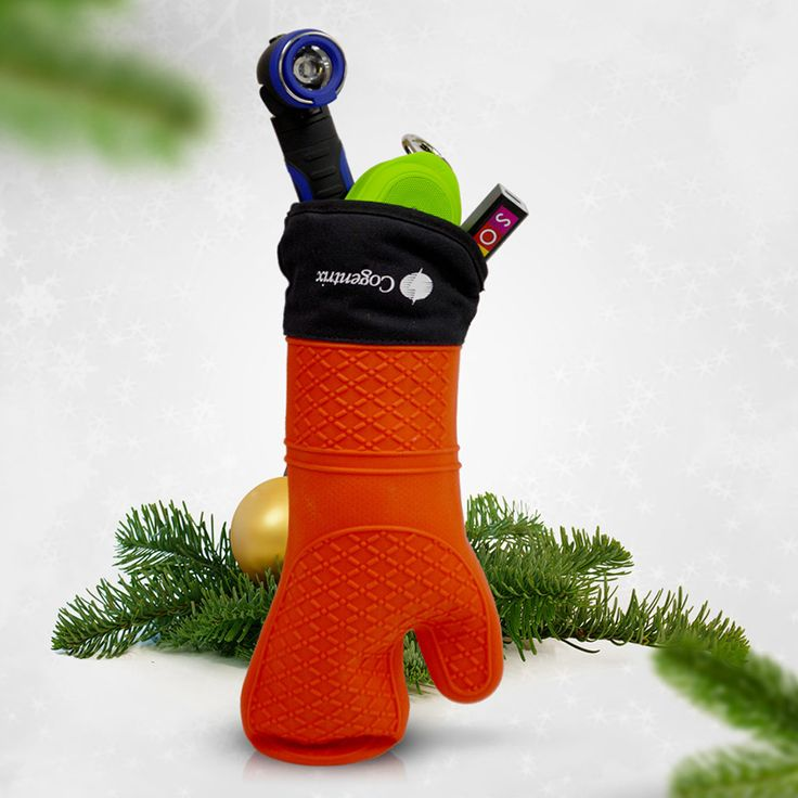 """Think outside of the box and be creative with your gifts.  Create your own custom """"'gift set"""".  One client took the HW34 Silicone oven mitt and used it like a Christmas Stocking, stuffing it with other great products like a flashlight, bluetooth speaker and power pack to hand out for the holidays."""