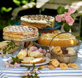 """Sønderjysk kaffebord til kage og småkage elskere! Viste i at der skal være mindst 10 - 14 (eller der omkring) forskellige kager i et sønderjysk kaffebord? Jeg er selv fra sønderjylland mmmm mums! Her er 17 opskrifter på forskellige kager til et sønderjysk kagebord. Inklusive den rigtig gode rugbrødslagkage der også kaldes rugbrødstorte på sønderjysk. Småkagerne """"ingenting"""" og de hvide og brune fedtekager, hvori der er svinefedt."""