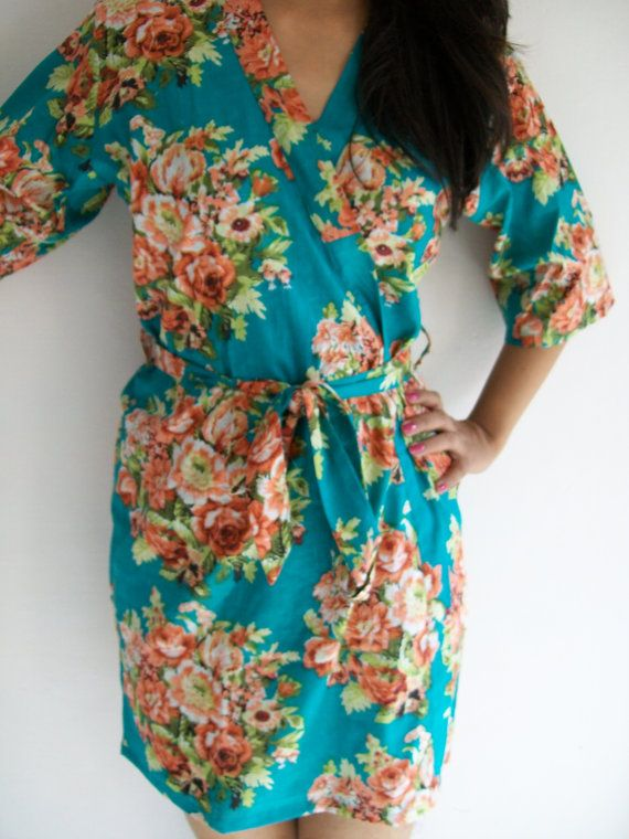 Sea Green color Floral Kimono Crossover patterned Robe Wrap - Bridesmaids gift, getting ready robes, Bridal shower favors, baby shower