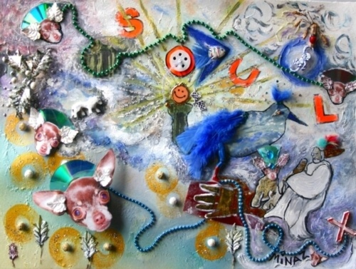 Minaz Jantz, 'Chihuahua Angels in Pet Heaven' Multi-media on w/c paper: collage total 35 items 22 x 30 ""