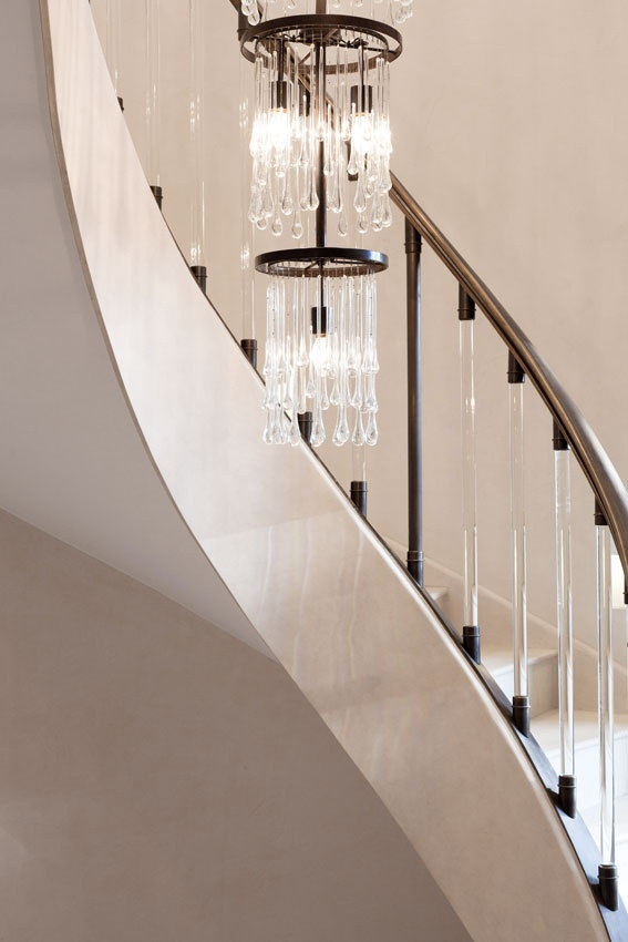 Chandelier And Glass Rod Staircase. By James Tarry