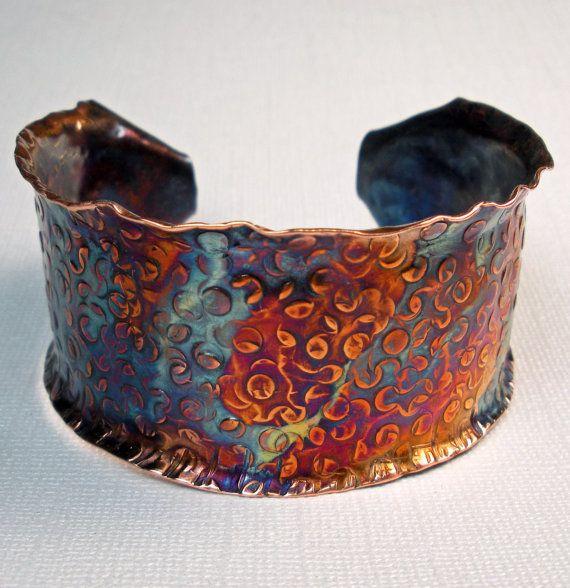 Cuff   Deb of FebraRose. Hammered copper cuff - the colors!