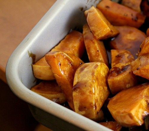 As a firm believer in the idea that vegetables never need to be smothered  in butter and sugarto be palatable, I usually try to bring healthy and  delicious veggie-full dishes to holidays and family functions to win over  all of the skeptics in my life. And then there were these sweet  potatoes,which, being smothered in a maple espresso bourbon sauce, are  quite the indulgence yet are worth every calorie.  I may or may not have eaten half a batch on Thanksgiving and am still ruing  the fact…
