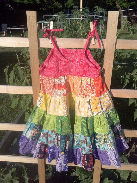 Rainbow Patchwork Dress with 129 patches of by FreeRangeFamily, $75.00