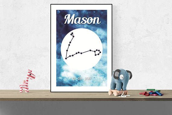 Custom Scorpio wall art Zodiac constellation name print