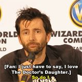 David Tennant talking about his wife. Georgia Moffett who played The Doctor's daughter. :)
