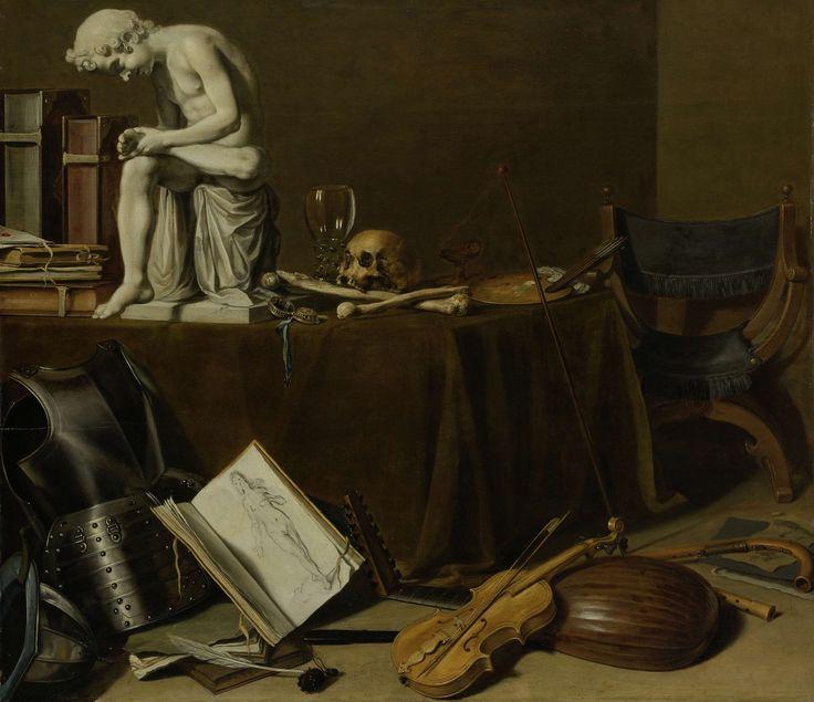 Vanitas stilleven met de Doornuittrekker, Pieter Claesz., 1628