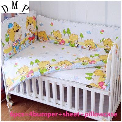 42.80$  Watch here - http://alio56.shopchina.info/1/go.php?t=32381431327 - Promotion! 6PCS baby crib sheets 100% cotton boy bedding bumper crib bumper (bumpers+sheet+pillow cover)  #buyonlinewebsite