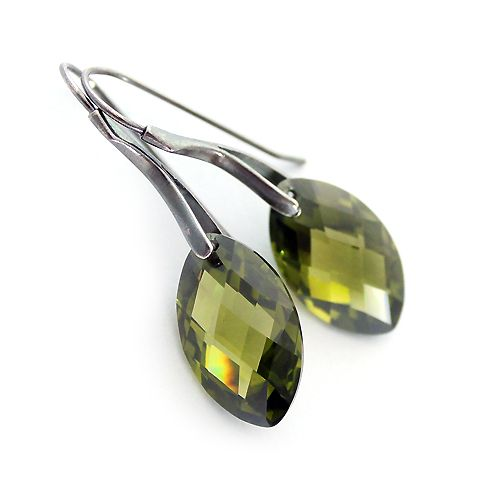 Silver and olivine cubic zirconia earrings.