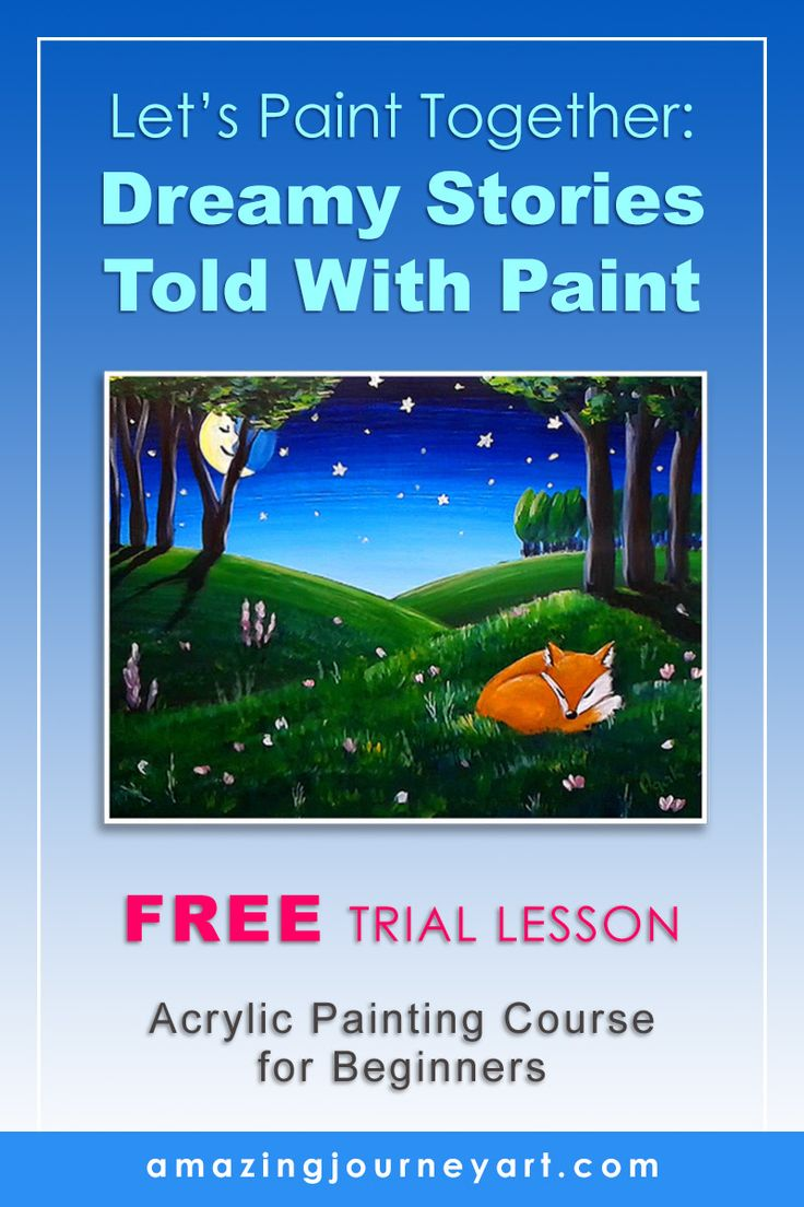 Acrylic painting for beginners - art course for kids and adults of all ages with a free painting lesson and free art printables. | WHAT'S INSIDE: DIY stay wet palette. Finding acrylic painting ideas. Art composition tips. Painting animals and drawing from reference. Acrylic painting techniques (layer painting technique). How to tell stories through paint. | More online art classes coming soon! COURSE LINK: http://ajacademy.thinkific.com/courses/dreamy-stories/ #amazingjourneyart #ajacademy