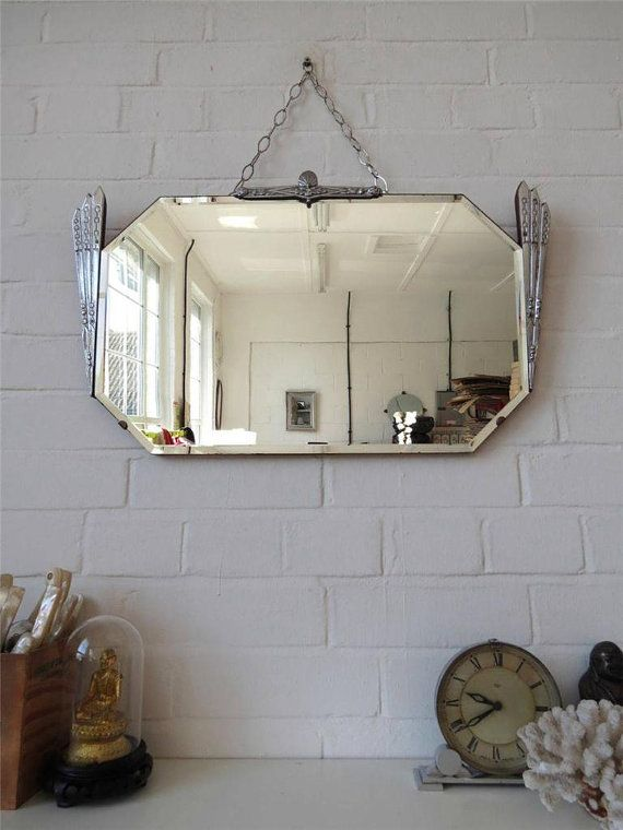 Vintage Bevelled Edge Wall Mirror Art Deco Beveled By