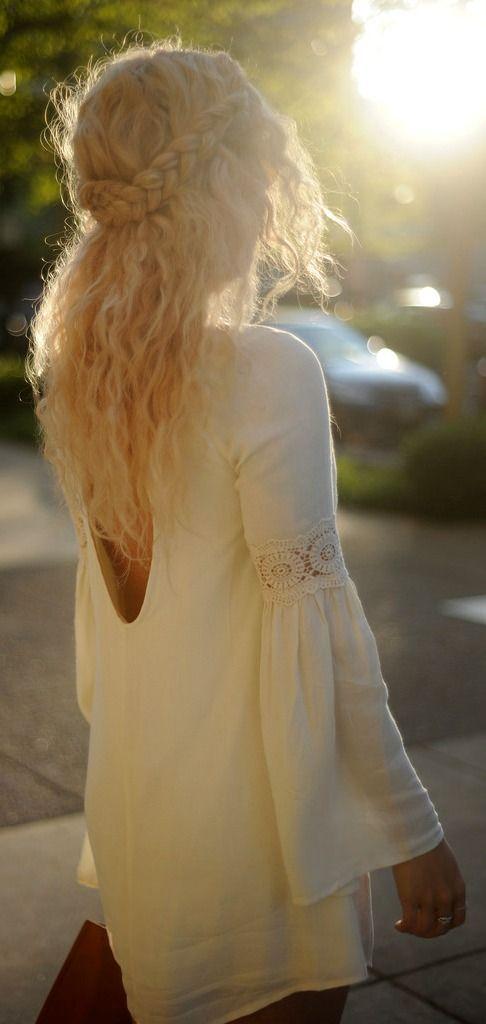 Boho Crochet Dress + Half-Up Braids.