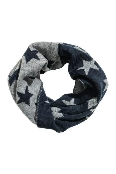 Twisted tube scarf in a soft knit.