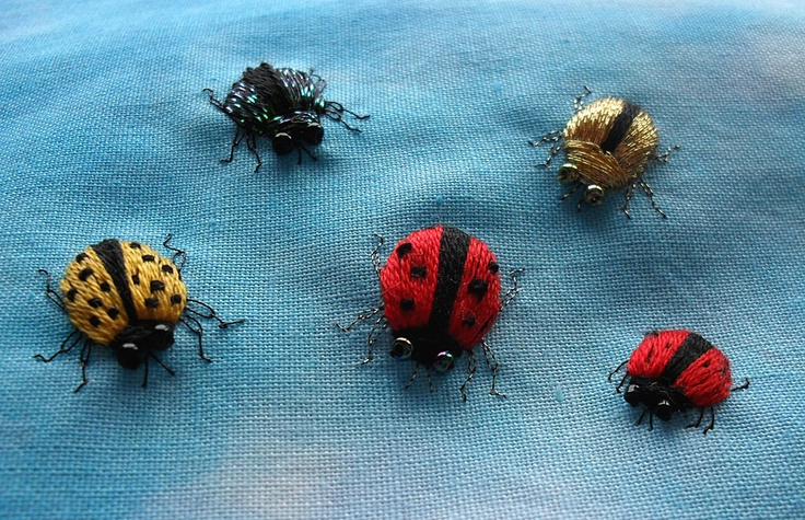 How to make simple stumpwork bugs, based on the larger ladybird/ladybug. http://sew-in-love.blogspot.co.uk/2012/06/stumpwork-ladybird-tutorial.html