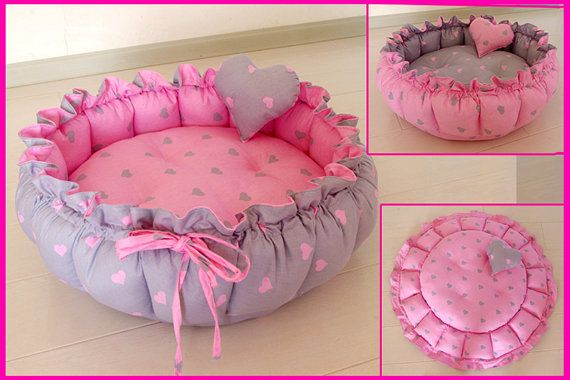 HM31 Handmade Pumpkin Dog Pet Cat Bed PuP Mat Reversible Cushion Heart Romance