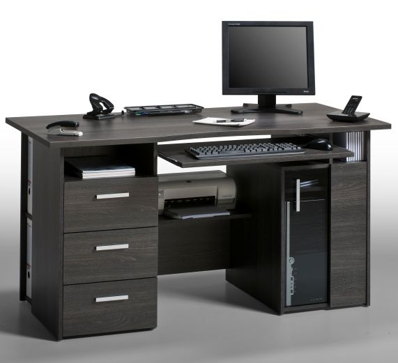 Capius Oak Grey Anthracite Computer Work Station And