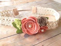 Vintage baby headband - flower garland - baby, toddler headband - vintage headband - photo prop on Etsy, $12.00