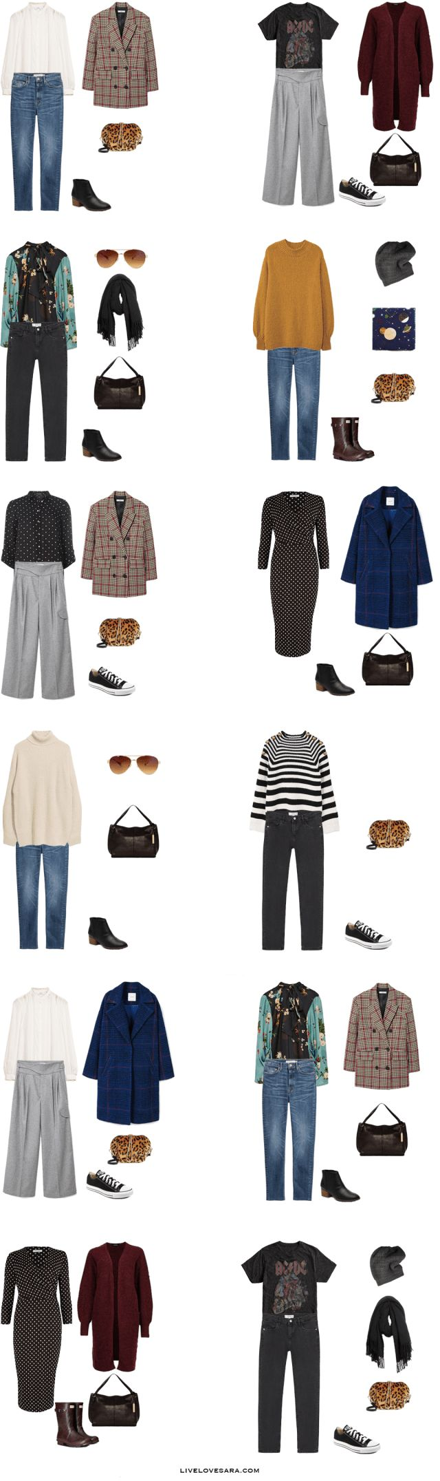 What to Pack for Glasgow, Scotland Packing Light List Outfit Options 1-12 #packinglight #packinglist #travellight #travel #livelovesara #capsule