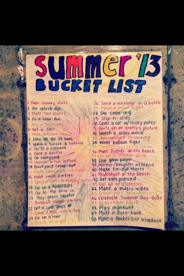 summer bucket list #2013
