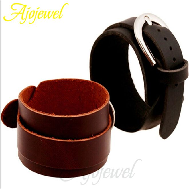 Ajojewel Fashion Wrap Leather Band Bracelets Men Sport Jewelry