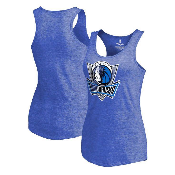 Dallas Mavericks Women's Distressed Team Primary Logo Racerback Tri-Blend Tank Top - Royal - $29.99