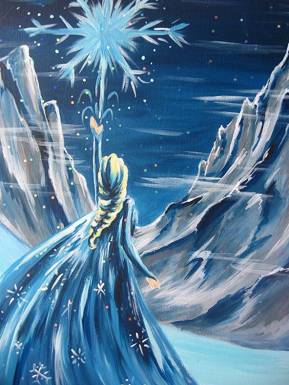 16x12 Disney Frozen Queen Elsa Snow Scene Disney by happybdaytome, $125.00