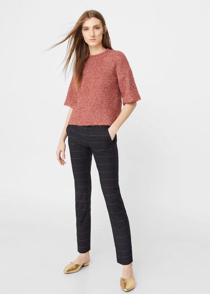 Kraciaste spodnie crop | MANGO